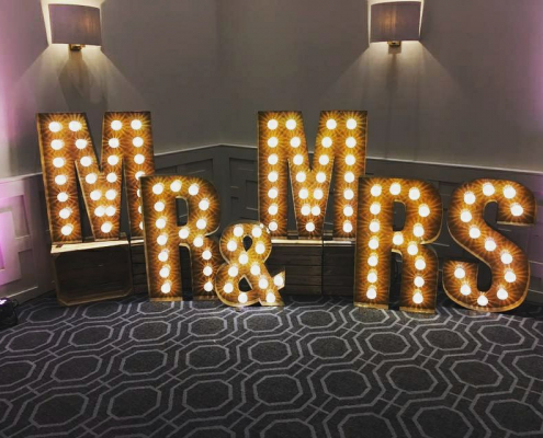 Mr and Mrs rustic metal letter